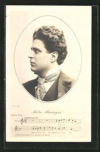Künstler-AK Portrait Komponist Pietro Mascagni im Anzug, Lola's Lied