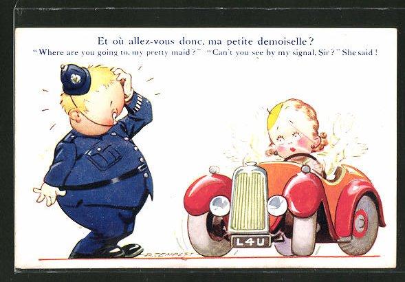 Künstler-AK Douglas Tempest: Polizist und aufgeregte Autofahrerin