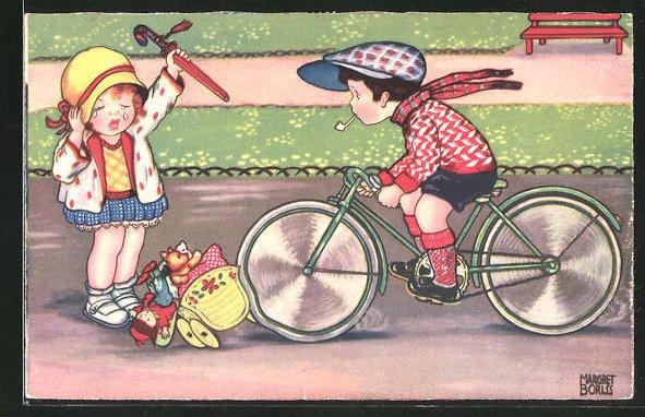 Künstler-AK sign. Margret Boriss: Fahrradfahrer fährt den Puppenwagen eines Mädchens um