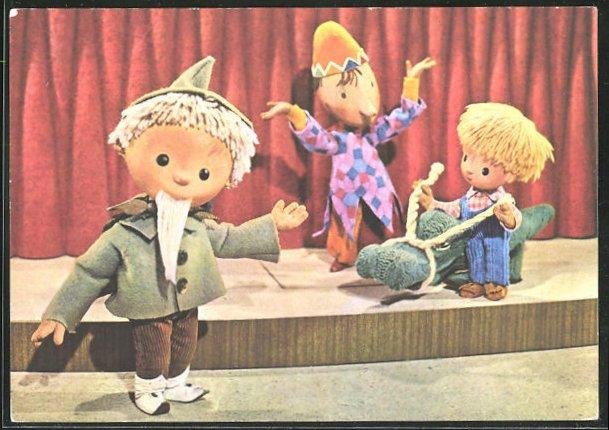AK Sandmann mit Kind und Clown auf der Bühne