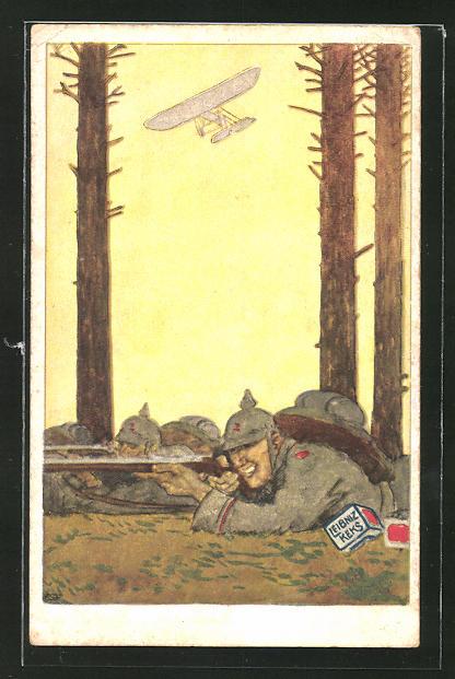 Künstler-AK Reklame für Leibniz-Kekse von Bahlsen aus Hannover, Soldaten im Gefecht