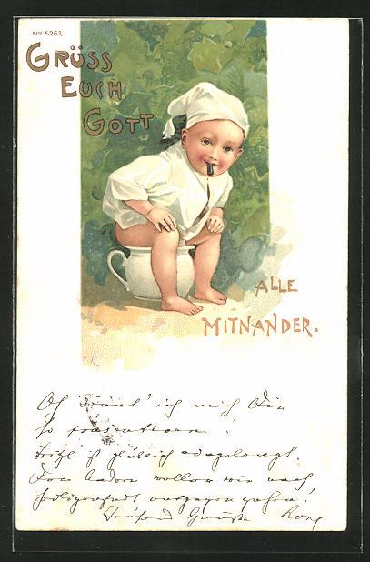 AK Kleinkind auf dem Töpfchen, Toilettenhumor