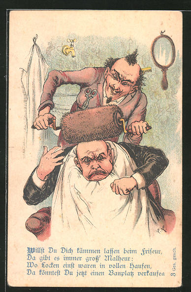 Künstler-AK Mann wird beim Friseur gequält, Scherz