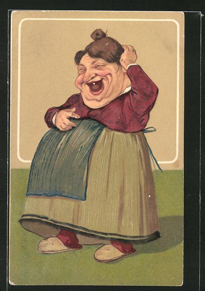 Präge-AK Lachende dicke Frau, frauenfeindlicher Humor