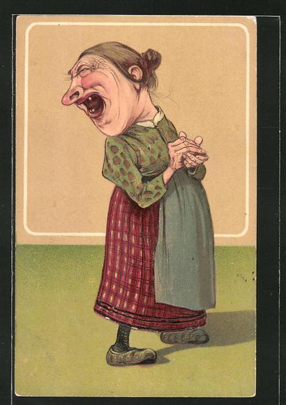 Präge-AK Lachende alte Frau, frauenfeindlicher Humor