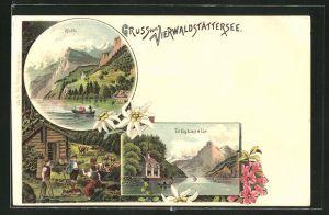 Lithographie Vierwaldstättersee, Tellskapelle am See, Rütli