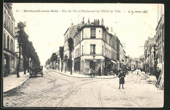 AK Montreuil-sous-Bois, Rue du Pre et Boulevard de l'Hotel de Ville
