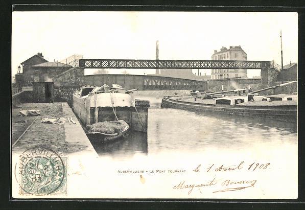 AK Aubervilliers, Le Pont Tournant