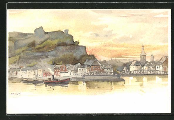 AK Namur, Ortspartie vom Wasser aus gesehen
