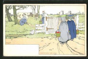Künstler-AK Goes, Omstreken, Holländerinnen beim Kuh melken