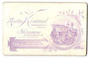 Fotografie Martin Kimmel, Nürnberg, rückseitige Ansicht Nürnberg, Dächer der Stadt, vorderseitig Portrait Kleinkind