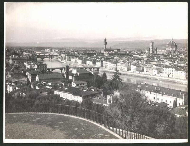 Fotografie Alinari, No. 3084, Ansicht Florenz-Firenze, Panorama della Citta, Visto dal piazzale Michelangiolo, 25 x 19cm