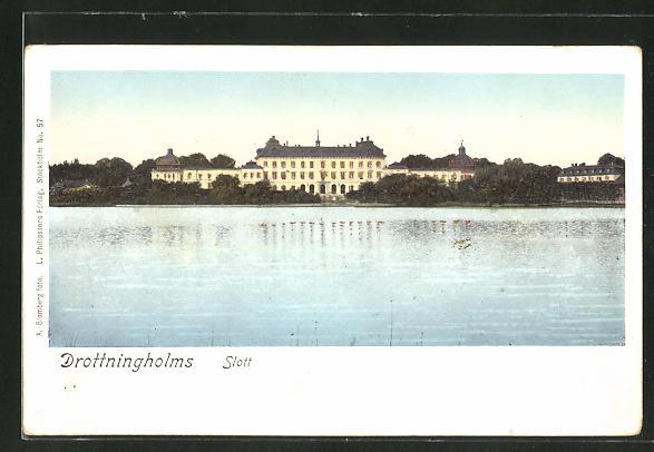 Goldfenster-AK Drottningholm, Blick auf das Schloss mit leuchtenden Fenstern
