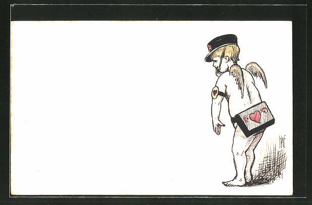 Künstler-AK Handgemalt: kleiner Amor als Briefträger