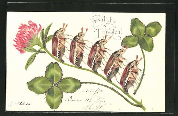 Glitzer-Perl-AK Fröhliche Pfingsten! Maikäfer auf einem Blütenstengel