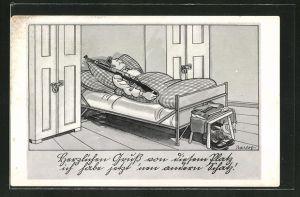 Künstler-AK Ferdinand Barlog: Mann schläft mit Gewehr in karierter Bettwäsche