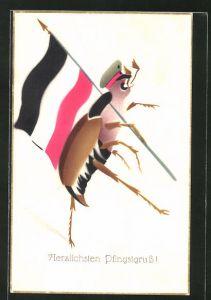 AK Herzlichen Pfingstgruss, Maikäfer marschiert mit Soldatenmütze und Flagge