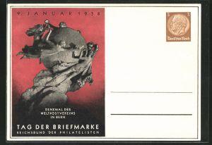 AK Tag der Briefmarke 1938, Reichsbund der Philatelisten, Denkmal des Weltpostvereins in Bern, Ganzsache