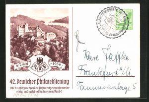 AK Lauenstein, 42. Deutscher Philatelistentag 1936, Panorama, Ganzsache