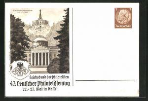AK Kassel, 43. Deutscher Philatelistentag, Schloss Wilhelmshöhe und Herkules, Ganzsache