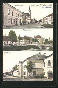 AK Blindenmarkt, Hauptplatz, Villenviertel, Gasthaus