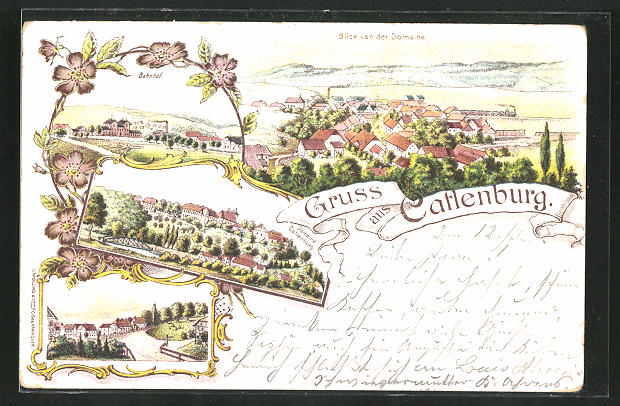 Lithographie Catlenburg, Blick von der Domaine Catlenburg auf den Ort, Bahnhof