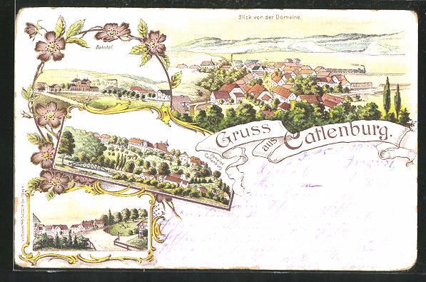 Lithographie Catlenburg, Ortsansicht von der Domaine Catlenburg, Blick auf den Bahnhof