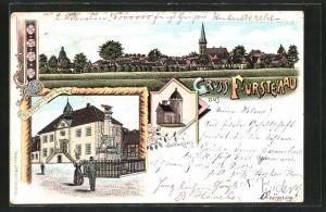 Lithographie Fürstenau, Ortsansicht mit Kirche, Rathaus mit Kriegerdenkmal, Stadtwappen
