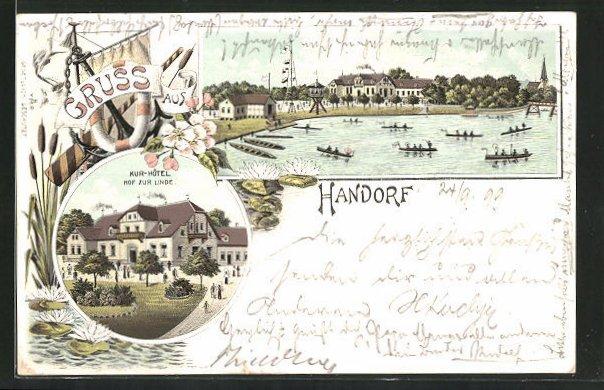 Lithographie Handorf, Ortspartie vom Wasser aus gesehen, Kur-Hotel Hof zur Linde