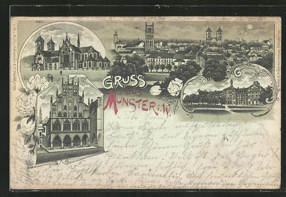 Mondschein-Lithographie Münster i. Westf., Dom, Rathaus, Königl. Schloss