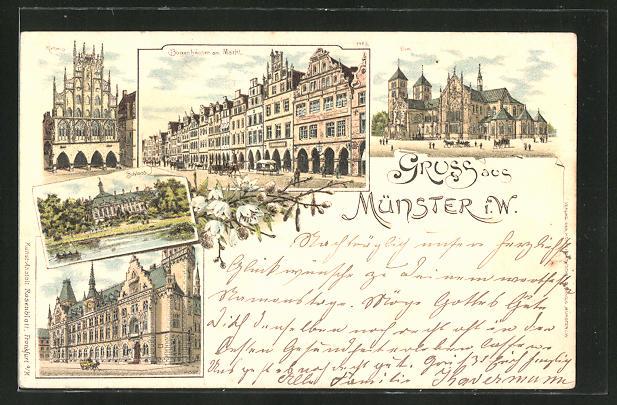Vorläufer-Lithographie Münster i. Westf., 1895, Rathaus, Dom, Schloss, Bogenhäuser am Markt