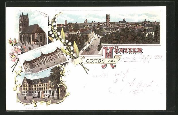 Lithographie Münster i. Westf., Königl. Schloss, Liebfrauenkirche, Königl. Regierung