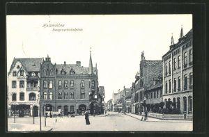 AK Holzminden, Strassenpartie am Baugewerkschulplatz, Hotel Buntrock