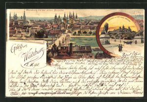 Lithographie Würzburg, Festung mit neuer Brücke, Teilansicht der Stadt mit alter Brücke