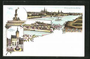 Lithographie Würzburg, Rathaus mit Gräfin-Eckardts-Thurm, Luitpold-Brunnen, Alte Brücke und Festung