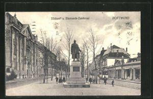 AK Dortmund, Südwall-Strasse und Bismarckdenkmal