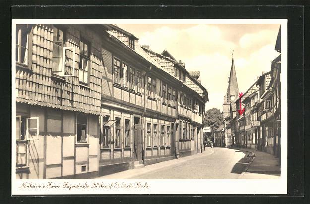 AK Northeim, Hagenstrasse mit Blick auf St. Sixti-Kirche