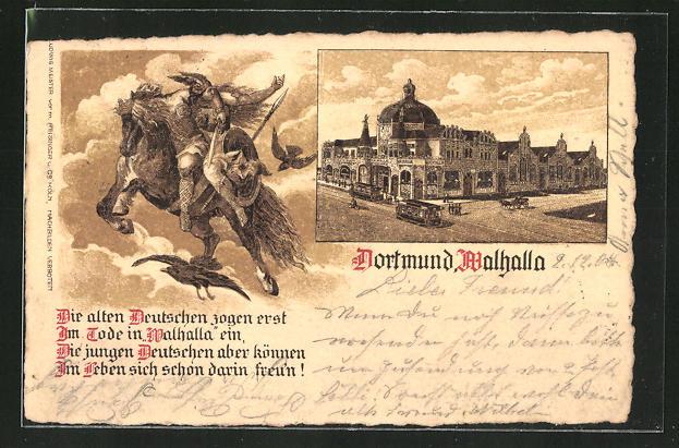 Lithographie Dortmund, Gasthaus Walhalla, Walkürenritt