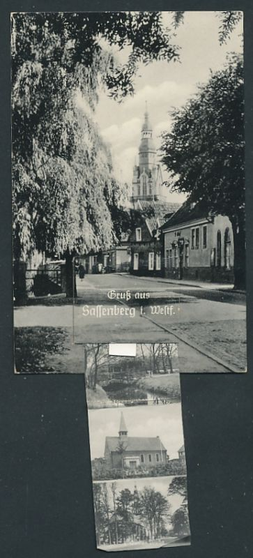 Leporello-AK Sassenberg i. Westf., Haus Rath, Ev. Kirche, Krankenhaus