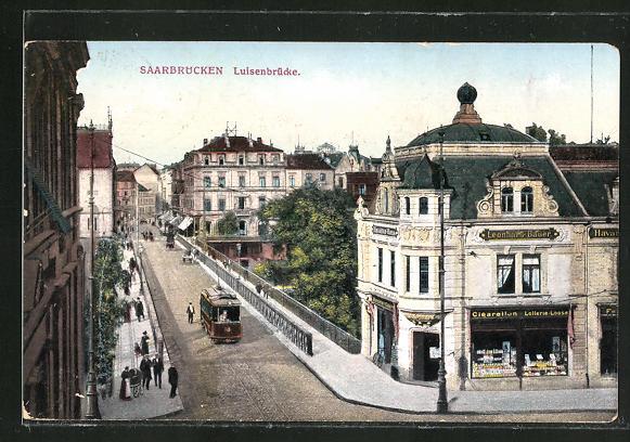 AK Saarbrücken, Victoriastrasse mit Luisenbrücke und Strassenbahn