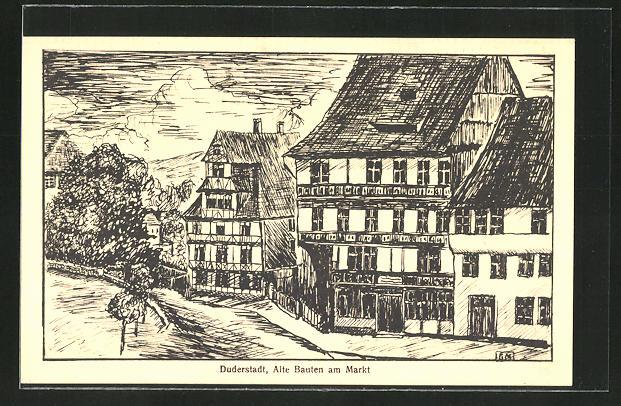 AK Duderstadt, Alte Bauten am Markt