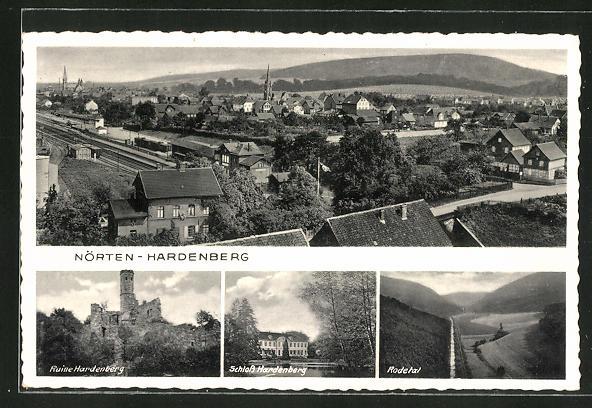 AK Nörten-Hardenberg, Schloss Hardenberg, Ruine Hardenberg, Ortsansicht