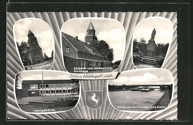 AK Hiddingsel / Westf., St. Georg-Kirche, Schule, Ehrenmal