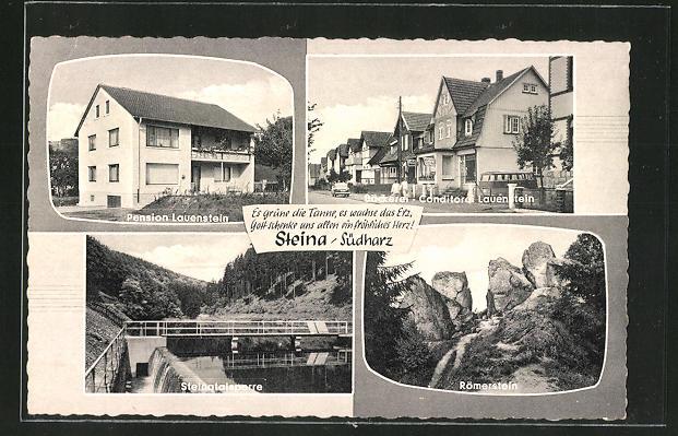 AK Steina / Südharz, Pension Lauenstein, Steinatalsperre, Römerstein