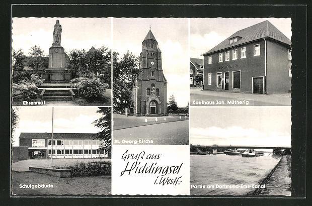 AK Hiddingsel / Westf., Ehrenmal, St. Georg-Kirche, Schule