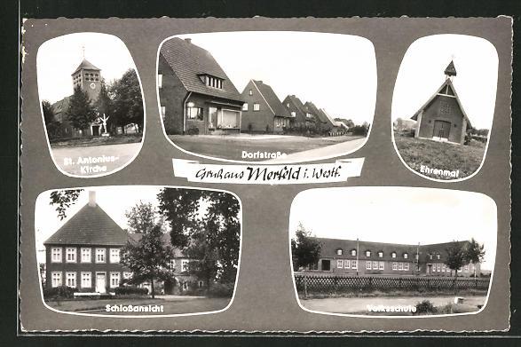 AK Merfeld / Westf., St. Antonius-Kirche, Dorfstrasse, Ehrenmal, Schloss