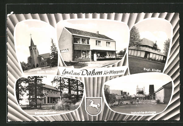 AK Dalum, Kath. Kirche, Ev. Kirche, Schule, Industrie-Anlagen