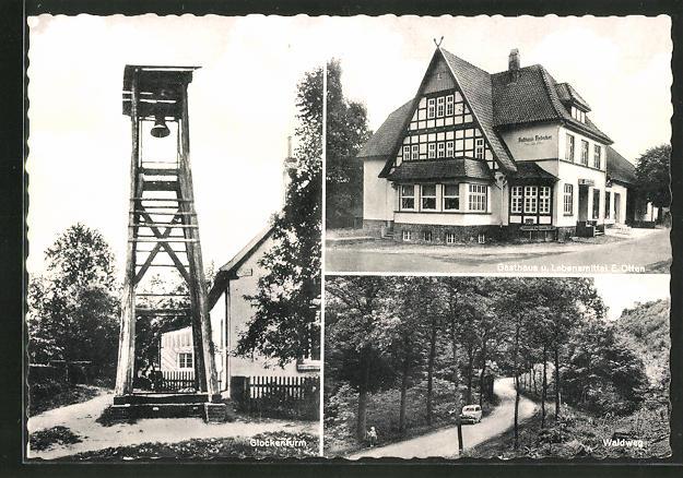 AK Hüsede, Gasthaus Otten, Glockenturm, Waldweg 0
