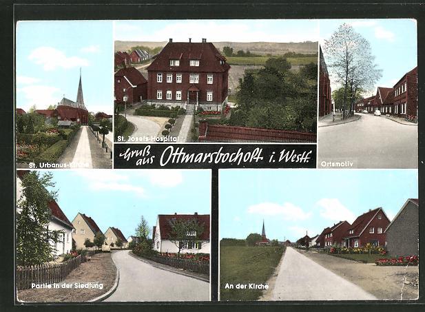 AK Ottmarsbocholt / Westf., St. Urbanus-Kirche, Kirche, St. Josefs-Hospital 0