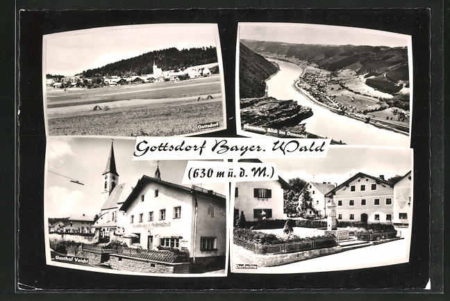 AK Gottsdorf / Bayer. Wald, Ortsansicht, Gasthaus Veicht, Dorfmitte 0